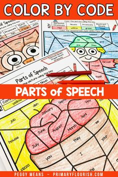 Parts of Speech Color by Code Fall Grammar Worksheets Adverb Activities, Kids Learning Activities, Classroom Activities, Teaching Vocabulary, Teaching Grammar, Teaching Resources, Teaching Second Grade, Third Grade, English Phonics