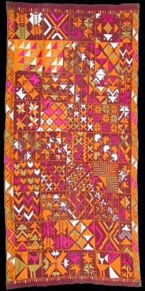 Rare embroidered cotton Bawan phulkari, Eastern Punjab.