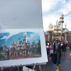 Been way too long since I did any #pleinair #painting. We went to #Disneyland today and I lost all my painting supplies...but then found them again at City Hall! Decided to paint the #castle while it's all decked out for the #holidays. #disney #gouache #christmas