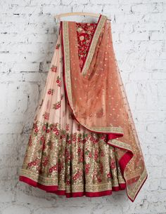 SwatiManish Lehengas SMF LEH 146 17 Peach tint lehenga with coral rose dupatta and red threadwotk blouse Lehenga Gown, Red Lehenga, Bridal Lehenga Choli, Anarkali, Indian Attire, Indian Wear, Indian Dresses, Indian Outfits, Indian Clothes