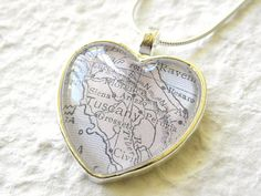 World Traveler Heart Shaped Map Necklace - Tuscany, Italy featuring Siena, Arezzo, Florence, Lucca, and Pisa