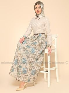 Robe à fleurs - Beige - Robe - Modanisa