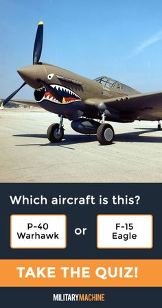 Take our quiz and test your knowledge of different military aircraft! Is this a P-40 Warhawk or an F-15 Eagle? Maybe it's a P-51 Mustang... If you enjoy quizzes and trivia, this one will surely test you. It covers a variety of military aircraft from fighter jets and helicopters to transport planes and stealth bombers and even World War 2 planes. Let's see what you've got! #military #p40 #p51 #aviation #quiz #quizzes #trivia #militaryaviation #aircraft #ww2aircraft