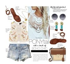 """""""#60secondstyle #summerpony #hairtrend"""" by chrisger ❤ liked on Polyvore featuring Abercrombie & Fitch, Salvatore Ferragamo, Needle & Thread, Jennifer Fisher and Aurélie Bidermann"""