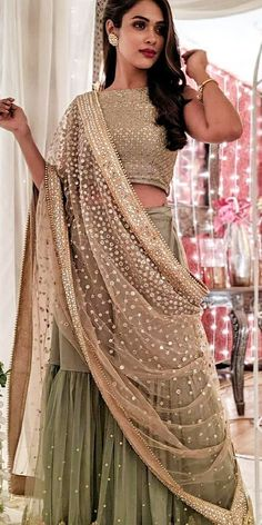 30 Exciting Indian Wedding Dresses That You'll Love ❤ indian wedding dresses sari with detached skirt sequins gold eventilaindia dresses indian bollywood Indian Wedding Gowns, Desi Wedding Dresses, Indian Gowns Dresses, Indian Bridal Outfits, Indian Designer Outfits, Wedding Bride, Indian Outfits Modern, Bridal Dresses, Indian Designers