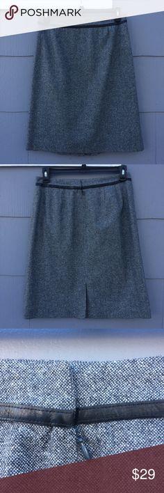 "Pendleton Grey Wool Tweed Skirt Vintage Pendleton tweed skirt with black leather trim.  Fully lined.  48% lambs wool, 36% wool; 16% silk.  Back zip and metal hook and eye closure.  Measurements laid flat:  waist - 17""; length - 24"".  Excellent used condition. Pendleton Skirts A-Line or Full"