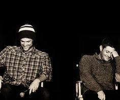 Jared Padalecki and Jensen Ackles Laughing. I swear... I get embarrassed by the things fans ask them!