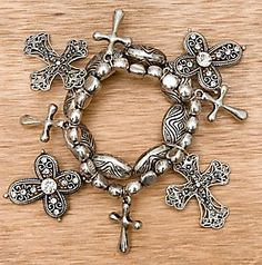 M Western Products® Silver with Cross Charms Stretch Bracelet