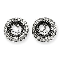 earring jackets   14k White Gold Black & White Diamond Earring Jackets - Image 1