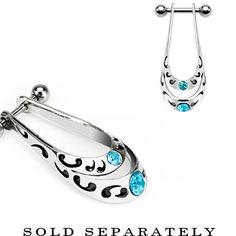 Aqua Gem Tribal Shield Helix Cartilage Earring | Body Candy Body Jewelry