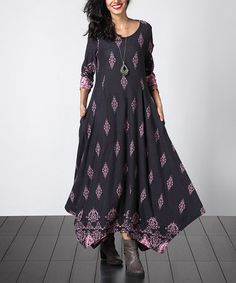 This Charcoal & Pink Damask Handkerchief Maxi Dress by Reborn Collection is perfect! Trendy Outfits, Cool Outfits, Pink Damask, Long Tunic Tops, Handkerchief Dress, Hippie Outfits, Mori Girl, Boho, Hippie Style