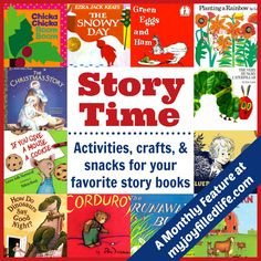 Story Time! Activities, crafts, & snacks for your favorite story books. Repinned by SOS Inc. Resources pinterest.com/sostherapy/.