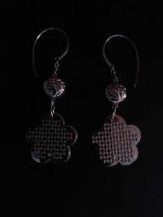 Stainless Steel Two Toned Flower Hook Earrings (free ship. 316l Stainless Steel, Ship, Candy, Flower, Earrings, Free, Jewelry, Fashion, Sweet
