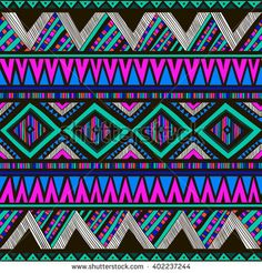 neon color tribal Navajo vector seamless pattern with doodle elements. aztec abstract geometric art print. ethnic hipster backdrop. Wallpaper, cloth design, fabric, paper, cover, textile. Hand drawn