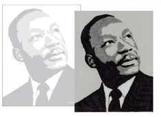 Martin Luther King Posterized Portrait. PDF template available at this website. #artprojectsforkids #MLK