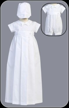 Boys Christening Convertible Cotton Weave Romper w. Detachable Gown *