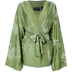 Fenty Boxer and Bomber Robe (£395) ❤ liked on Polyvore featuring intimates, robes, robe, tops, green, green robe, boxer robe, embroidered kimono, kimono dressing gown and embroidered bath robe