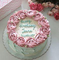 Rosette flower buttercream cake