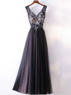 Simple A-line V-neck Dark Grey Simple Long Prom Dresses 2018 Cheap Prom Gowns Tulle Evening Dress This dress could be custom made, there are no extra cost to do custom size and color. Description 1, Processing time: 20 business days Shipping Time: 7-10 business days Fabric:Tulle Neck
