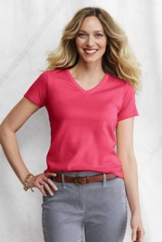 Women's Short Sleeve Shaped 1x1 Rib V-neck T-shirt from Lands' End