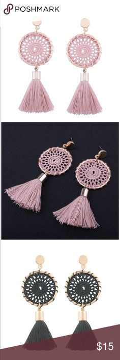 Earring For Women Hand woven circle tassel earrings - Good for Wedding, engagements,prom,any occasion you want to be more charming. - All 7  colors are available😍😍❤️ Bohemain Tassel Accessories