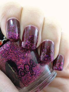 Ellagee: ☆ Crushed Garnet ☆ ... a clear base with a mix of metallic and holo glitter in shades of deep pink.
