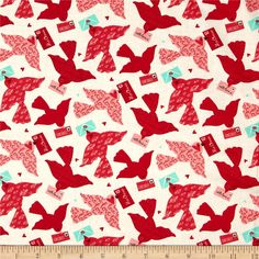 Moda Kiss Kiss Love Bird Cloud from @fabricdotcom  Designed by Abi Hall for Moda, this cotton print is perfect for quilting, apparel and home decor accents. Colors include red, pink, aqua, and white.