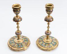 F. Barbedienne - A pair of fine gilt bronze and cloisonné enamel candlesticks    Antiquitäten & Kunst, Metallobjekte, Bronze   eBay!