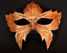 Leather Leaf Mask with Gold Trim by ~themotleymasquerade