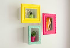 Framed colorful shelfs to store your decor and books