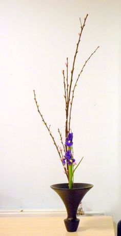 From Junko's class, Ikenobo Ikebana Shoka. Ikebana originated with Ikenobo,beginning in Kyoto, Japan, as a Buddhist floral offering. Passed down through generations of the Ikenobo family & from teacher to student, Ikenobo has spread throughout Japan & around the world.Shoka style looks very simple but said to be the most difficult of all Ikebana styles. There are two types of Shoka. One is the classical Shoka Shofutai and more modern style of Shoka Shimputai. http://www.ikebanabyjunko.co.uk/