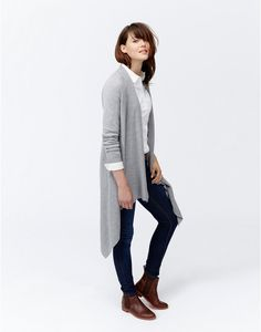 Joules Womens Longline Waterfall Cardigan, Soft Grey.                     If there's one go-to cardigan this season then it's this beautifully fluid, waterfall front piece.  Wear it as a cardigan or drape and fix with a pin for a wrap effect.