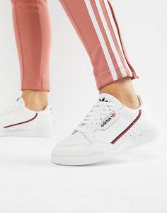 adidas originals – continental 80 – sneaker in gebrochenem weiß und rosa