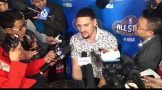 Klay Thompson of the Golden State Warriors answers questions after the JBL ThreePoint Contest during State Farm AllStar Saturday Night as part of the 2017 NBA AllStar Weekend in New Orleans, February 18th.