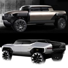 GMC Hummer EV Sketches Show What Could Have Been | Carscoops Jeep Cj6, Hummer Truck, Electric Pickup, Large Suv, Automotive Design, Auto Design, North Hollywood, Truck Design, Car Sketch