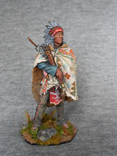 Crow Indian. Pre-Reservation period, 1850-1860. Elite tin soldier 54 mm.