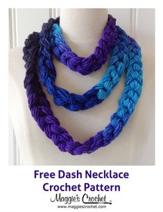 Dash Chain Necklace Free Crochet Pattern from Maggie's Crochet