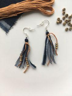Excited to share this item from my #etsy shop: Denim tassel recycled earrings / boho earring / jeans earring / fringe earrings