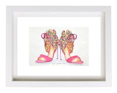 Fashion illustration Pink High Heel Shoes by imagineincolours
