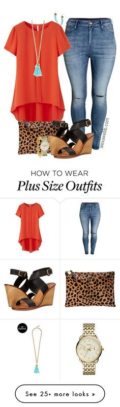 """Plus Size Orange Top - Alexawebb.com"" by alexawebb on Polyvore featuring H&M, BaubleBar, Clare V., Dolce Vita, Stella & Dot, FOSSIL, Panacea, outfit, plussize and plussizefashion"
