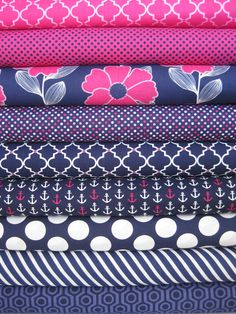 Camelot Cottons, In The Navy, Raging Sea in FAT QUARTERS 9 Total