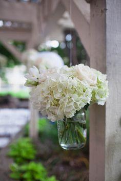 Hanging white hydrangea mason jar arrangements for an outdoor wedding Wedding Tips, Wedding Day, Wedding Shit, Wedding Dreams, Wedding Stuff, Mason Jar Arrangements, Flower Arrangements, Green Wedding, Wedding Flowers