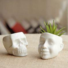 Creative Mini Ceramic White Skull Flower Pot Home Office Plant Decor Flowerpot