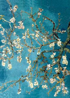 "Almond Blossom 1890 – oil on canvas ""This painting was greatly inspired by Japanese art. It was made as a present for Theo van Gogh and his wife, who had just had a baby. This was the reason van Gogh. Art Van, Flores Van Gogh, Van Gogh Arte, Van Gogh Pinturas, Art Amour, Van Gogh Almond Blossom, Van Gogh Paintings, Hanging Paintings, Monet Paintings"
