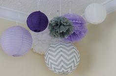 LavendeR Luvin'.7 pcs Gray chevron, Lavender,White paper lantern  paper pompom/nursery decor/ baby bridal shower// gender reveal by PomPomDelightNmore on Etsy https://www.etsy.com/listing/178861827/lavender-luvin7-pcs-gray-chevron