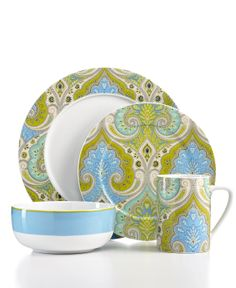 Echo Design Dinnerware, Latika Seafoam 4 Piece Place Setting - Casual Dinnerware - Dining & Entertaining - Macys