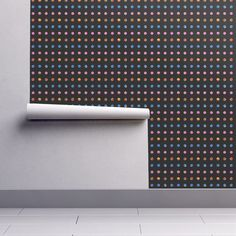 Isobar Durable Wallpaper featuring CHERRY CAKE MINI COLORFUL DOTS ON BLACK by paysmage | Roostery Home Decor