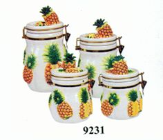 Elegant Pineapple Kitchen Decor | Pineapple Airtight 3D Canisters Set Of 4 Or 3