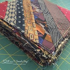 """Tying"" Up a Scrappy Quilt – It's a T-Sweets day!You can find Scrappy quilts and more on our website.""Tying"" Up a Scrappy Quilt – It's a T-Sweets day! Scrappy Quilt Patterns, Scrappy Quilts, Easy Quilts, Quilting Tutorials, Quilting Projects, Necktie Quilt, Shirt Quilts, Tie Pillows, Tie Crafts"