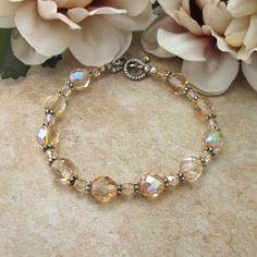 Small Size Bracelet Light Orange Czech AB Crystal Antiqued Silver   TheSingingBeader - Jewelry on ArtFire #bmecountdown @singingbeader